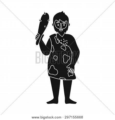 Vector Design Of Neanderthal And Man Logo. Set Of Neanderthal And Prehistoric Stock Vector Illustrat