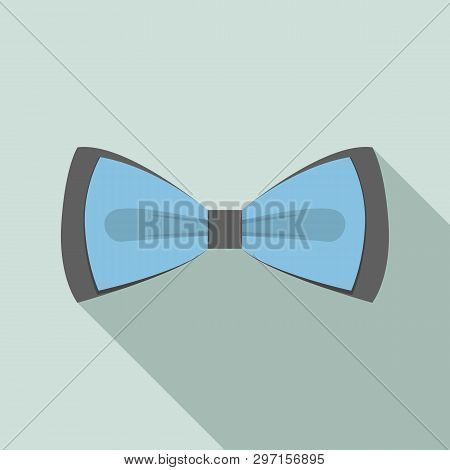 Blue Black Bow Tie Icon. Flat Illustration Of Blue Black Bow Tie Vector Icon For Web Design
