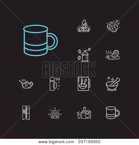 Utensil Icons Set. Juicer And Utensil Icons With Sponge, Cookery Book And Mug. Set Of Grind For Web