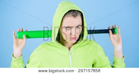 Brutal And Bully. Woman Play Baseball Game Or Going To Beat Someone. Girl Hooded Jacket Hold Basebal
