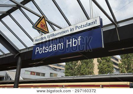 Potsdam, Berlin, Germany: 18th August 2018: Railway Station Sign