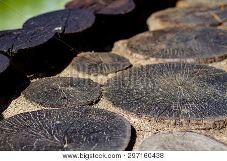 Dark Old Stumps In Landscape Design. Dark Old Cracked Wooden Stumps In The Design. Elements Of Decor