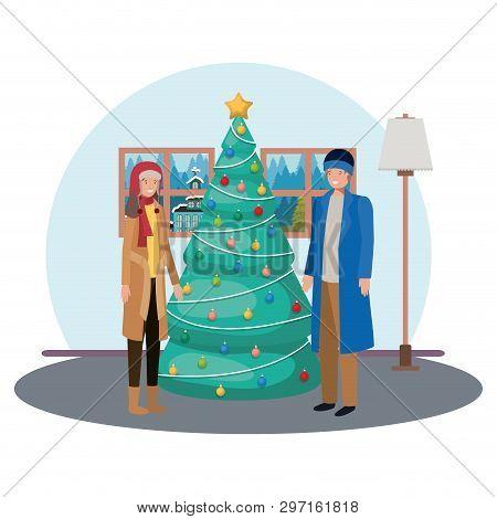 Men With Christmas Tree In Livingroom Vector Illustration Desing