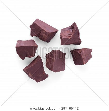 Top View. Large Pieces Of Dark Chocolate Isolated On White Background