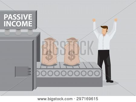 Cartoon Businessman Stands In Victory Gesture Behind Money Production Machine With Title Passive Inc