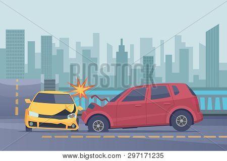 Accident Road Background. Damaged Spped Cars In Urban Landscape Emergency Help Broken Transport Vect