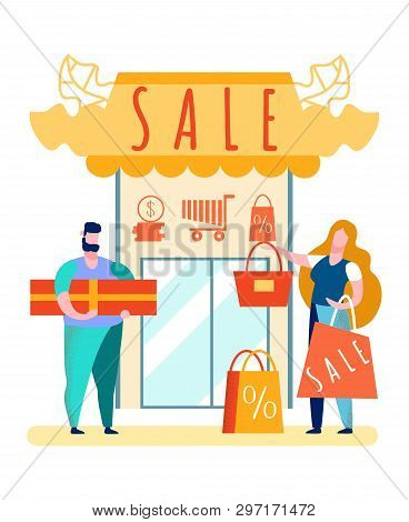 Couple With Purchases Cartoon Vector Illustration. Low Prices, Sale. Discounts In Gift Shop. Cart, S