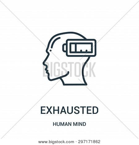 Exhausted Icon Isolated On White Background From Human Mind Collection. Exhausted Icon Trendy And Mo
