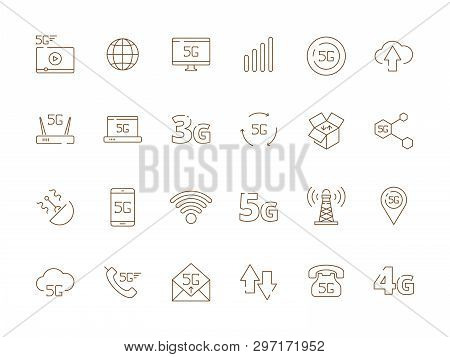 5g Icons. Internet Mobile Safety Wireless 4g Signal Telecommunication New Technology Free Wifi Vecto