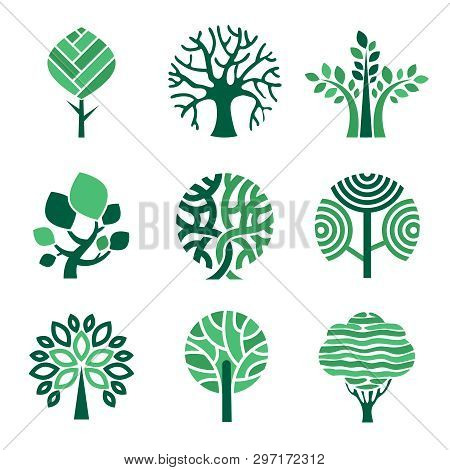 Tree Logo. Green Eco Symbols Nature Wood Tree Stylized Vector Pictures. Eco Wood Tree, Organic Natur