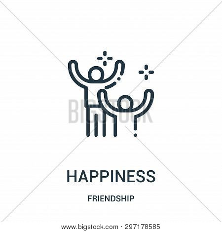Happiness Icon Isolated On White Background From Friendship Collection. Happiness Icon Trendy And Mo