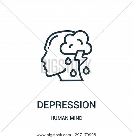 Depression Icon Isolated On White Background From Human Mind Collection. Depression Icon Trendy And