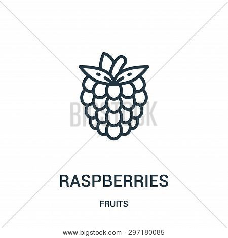 Raspberries Icon Isolated On White Background From Fruits Collection. Raspberries Icon Trendy And Mo