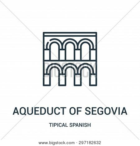 Aqueduct Of Segovia Icon Isolated On White Background From Tipical Spanish Collection. Aqueduct Of S