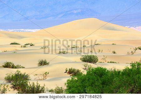 Death Valley Sand Dunes Landscape. Mojave Desert In California, Usa.
