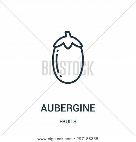 Aubergine Icon Isolated On White Background From Fruits Collection. Aubergine Icon Trendy And Modern