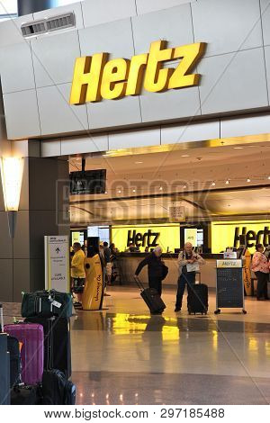 Las Vegas, Usa - April 13, 2014: Hertz Car Rental Airport Office In Las Vegas. Hertz Is One Of Large