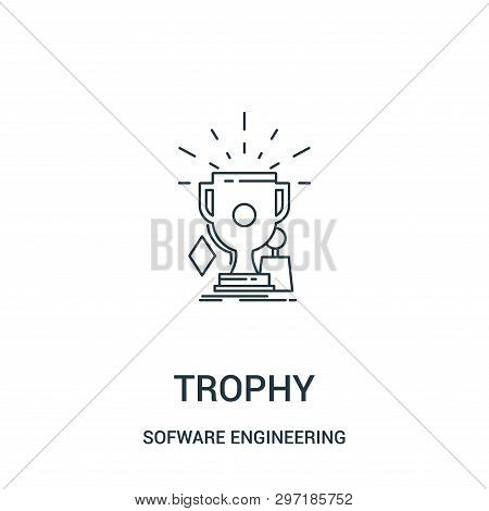 Trophy Icon Isolated On White Background From Sofware Engineering Video Gaming Collection. Trophy Ic
