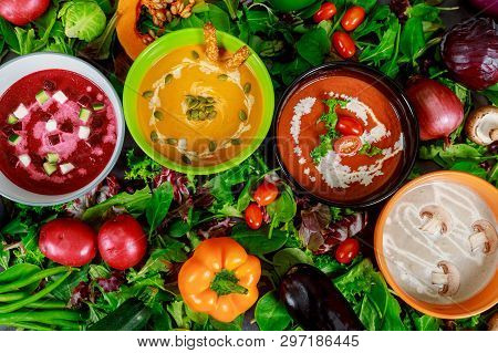 Set Of Soups From Worldwide Cuisines, Healthy Food. Cream Soup With Mushrooms, Tomato Red Soup, Broc