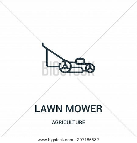 Lawn Mower Icon Isolated On White Background From Agriculture Collection. Lawn Mower Icon Trendy And