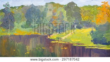 Oil Painting Colorful Autumn Trees. Semi Abstract Image Of Forest, Aspen Trees With Yellow - Red Lea