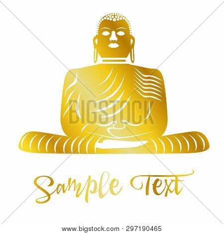 Illustration On The Theme Of Yoga With Rainbow Flower And Budha.