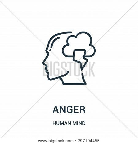 Anger Icon Isolated On White Background From Human Mind Collection. Anger Icon Trendy And Modern Ang