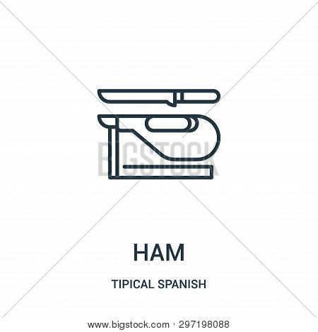 Ham Icon Isolated On White Background From Tipical Spanish Collection. Ham Icon Trendy And Modern Ha