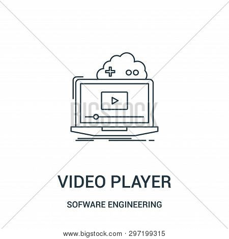 Video Player Icon Isolated On White Background From Sofware Engineering Video Gaming Collection. Vid