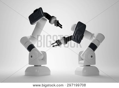 A Set Of Two Digital Manufacturing Robotic Arms. Factory Fabrication 3d Illustration.