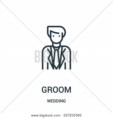 Groom Icon Isolated On White Background From Wedding Collection. Groom Icon Trendy And Modern Groom
