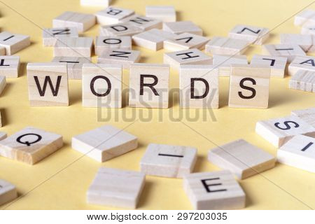 Words Word Made With Block Wooden Letters. Wood Abc