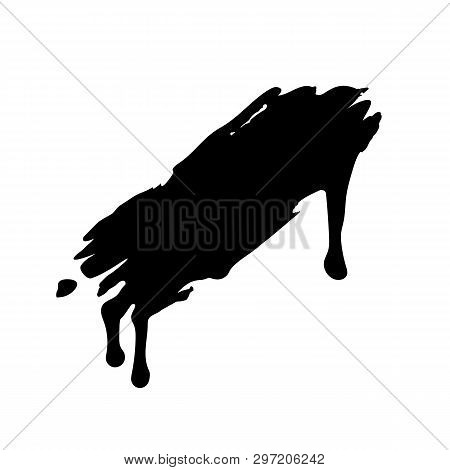 Flowing And Dripping Paint Or Liquid Brushstroke Template. Black For Use In Any Color And Any Design