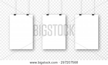 Poster Mockup Isolated On Transparent Background. Realistic Blank Poster Template. Set Of Vertical F