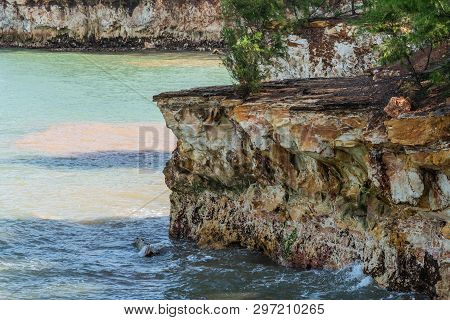 Darwin Australia - February 22, 2019: Closeup Ofeast Point Shoreline Shows Brown, Yellow And Darker