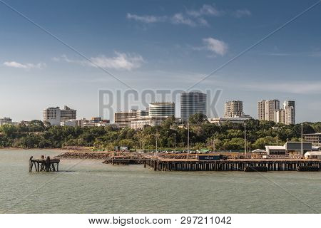 Darwin Australia - February 22, 2019: South Side Downtown Skyline Seen From Harbour Waters. Dock Up