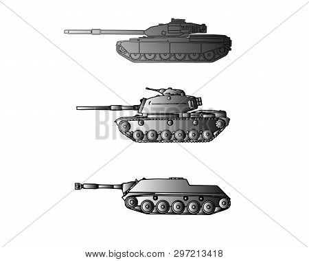 Vector The Flat Military Tank With A Gun And A Machine Gun. For Infographic, The Historical Websites