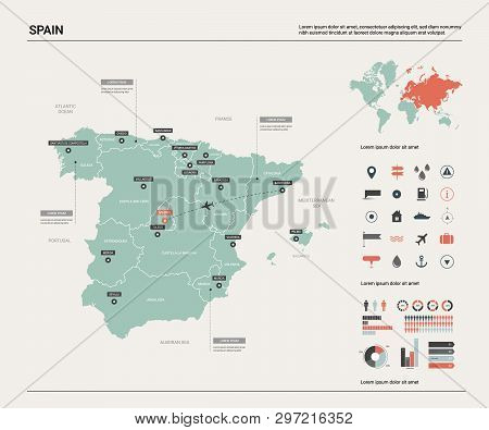 Vector Map Of Spain. High Detailed Country Map With Division, Cities And Capital Madrid. Political M