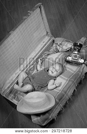 Interesting Story. Sweet Little Baby. New Life And Birth. Small Girl In Suitcase. Traveling And Adve