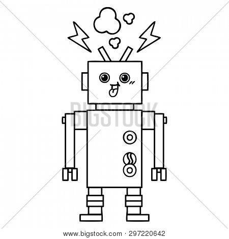 line drawing cartoon of a crazed robot