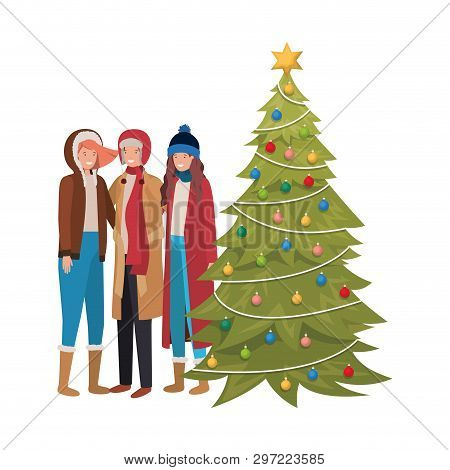 Group Of People With Christmas Tree Avatar Character Vector Illustration Desing