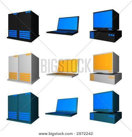 Computer, Notebook And Server