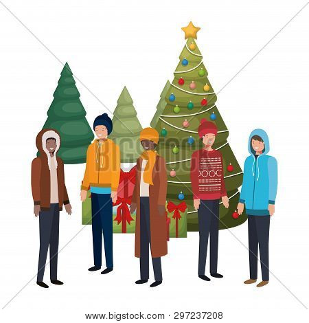 Men With Christmas Tree And Gifts Avatar Vector Illustration Desing