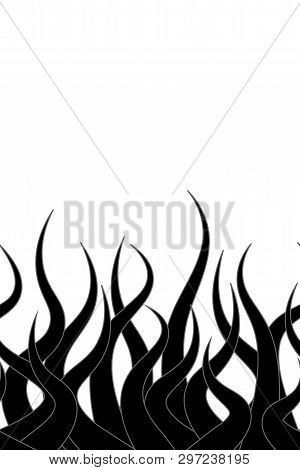 Vector Octopus Tentacle Silhouttes Horizontal Seamless Pattern