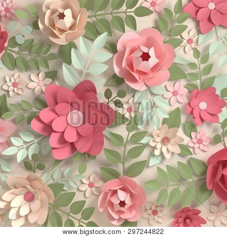 Paper Elegant Pastel Colored Flowers. Valentine's Day, Easter, Mother's Day, Wedding Card, Blooming
