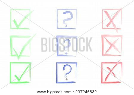 Test Symbols Watercolor Collection. Check Marks Set. Tick, Cross, Question Signs In Square Boxes. Or