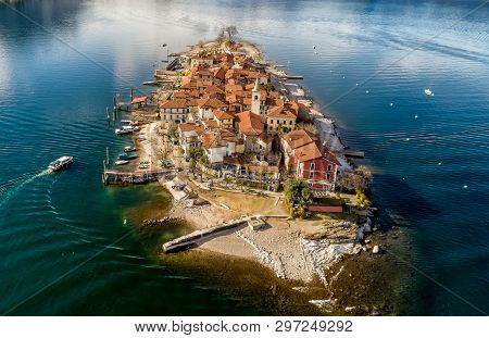 Aerial View Of Fishermens Island Or Isola Dei Pescatori At Lake Maggiore, Is One Of The Borromean Is