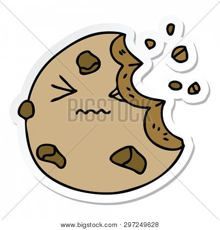 sticker of a quirky hand drawn cartoon munched cookie poster