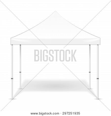 Mockup Promotional Outdoor Event Trade Show Pop-up Tent Mobile Marquee. Mock Up, Template. Illustrat