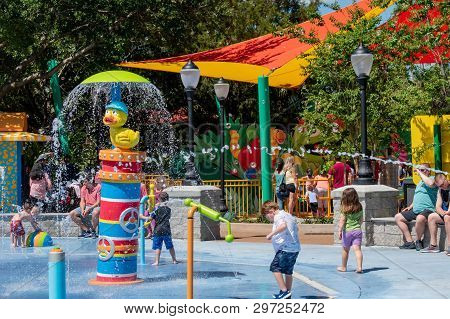 Orlando, Florida. April 20, 2019.  Kids Playing In Rubber Duckie Water Works Water Attraction At Sea